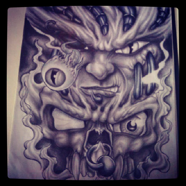 Evil Face and Skull by BillSlaughter on DeviantArt
