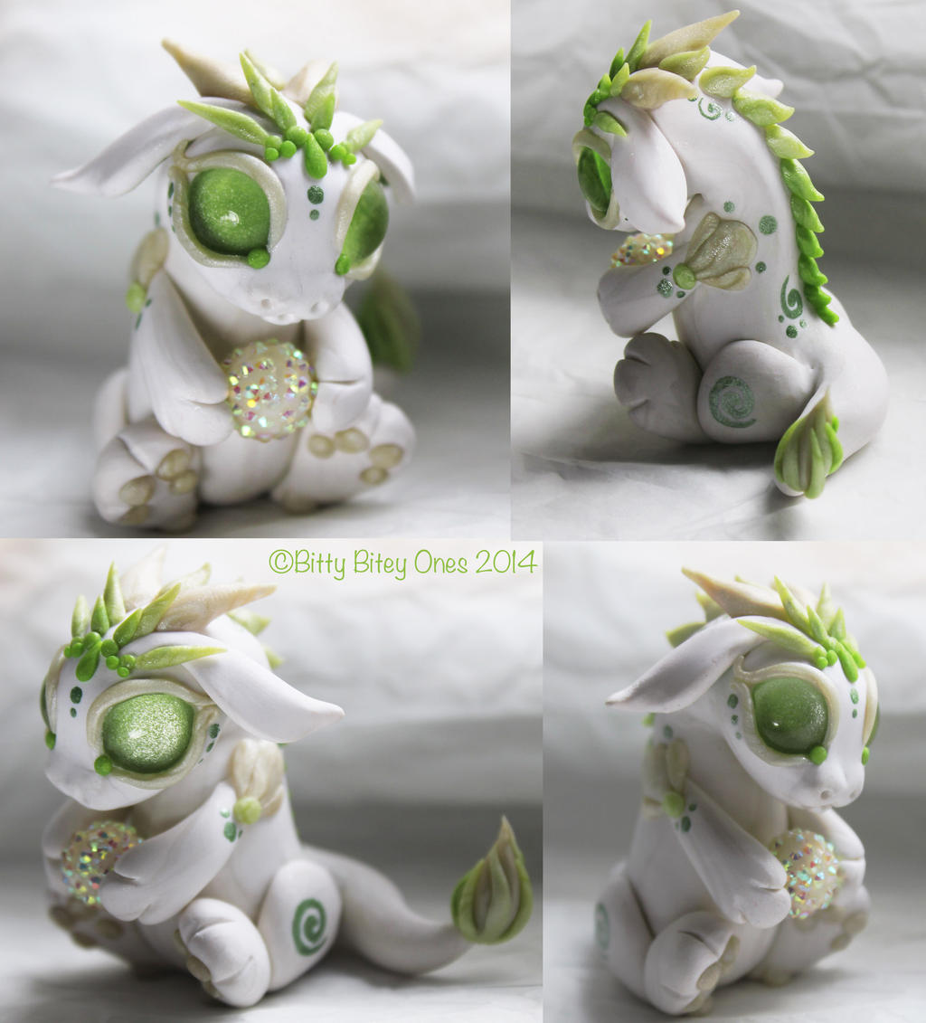 White And Green Baby Dragon With Ball by BittyBiteyOnes