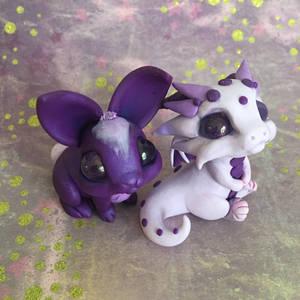 Purple bunny and baby dragon