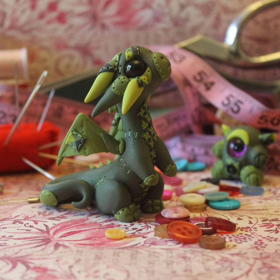 Patchwork Green Dragon by BittyBiteyOnes