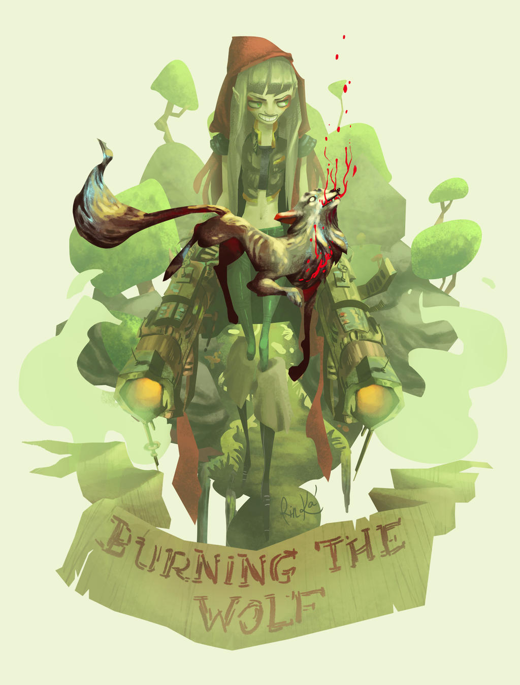 Burning the Wolf by RinKaDrawings