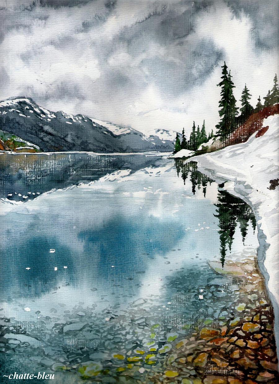 Jezioro w gorach 2 by chatte-bleu