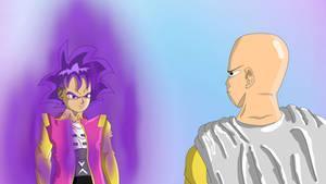 Super Saiyan Zen Goku, facing Saitama