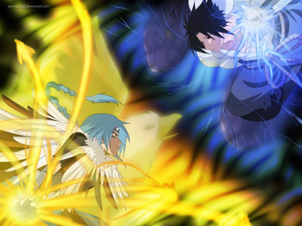 Commission: Kinu VS Sasuke by annria2002