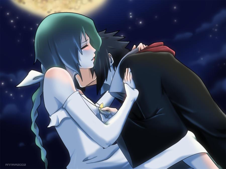 Commission: SasuKia moonlight by annria2002