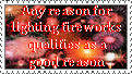 Any Reason for Fireworks Stamp by crimson-stardust