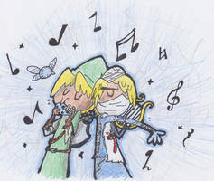 Link and Shiek by TheFlyingTacoz