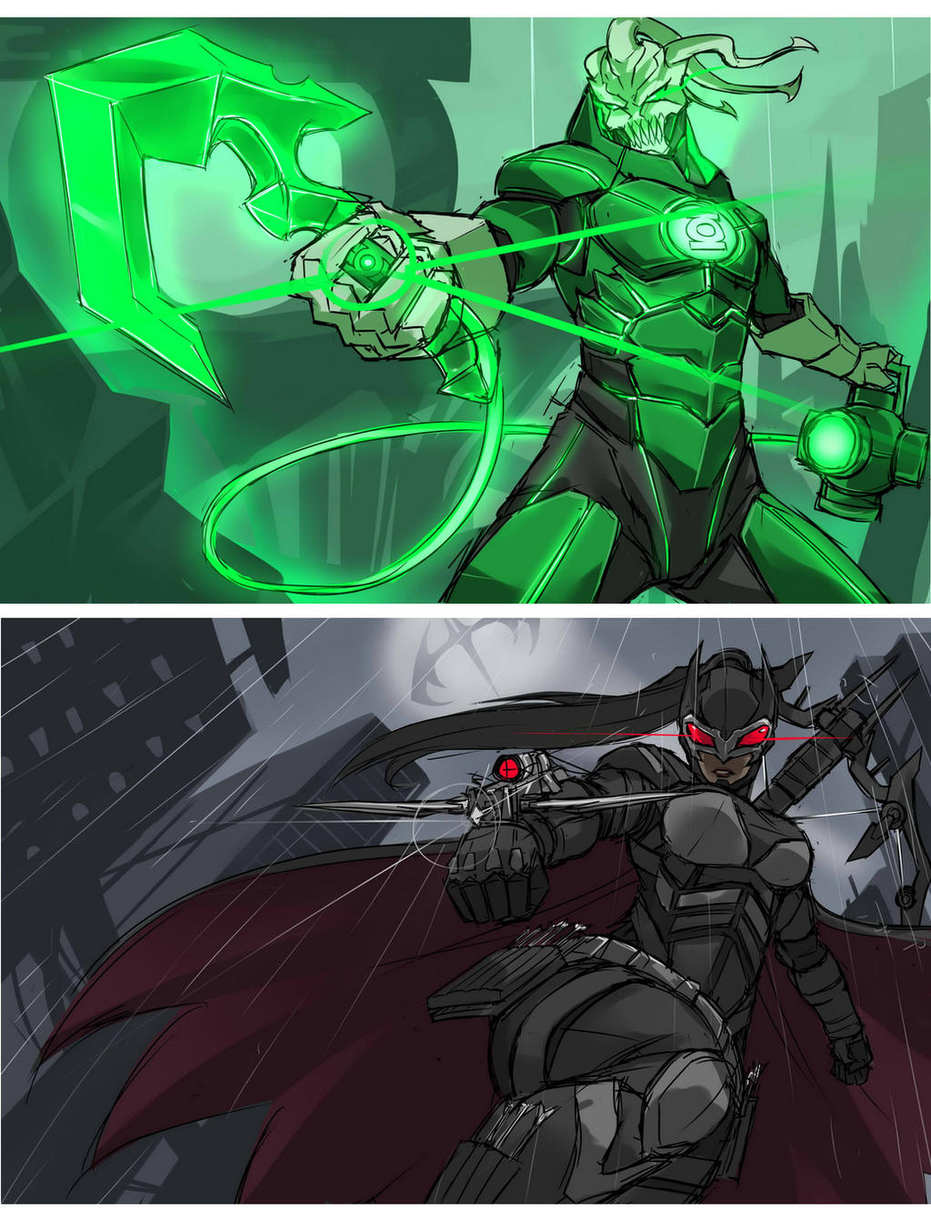 Thresh Lantern and  Dark knight Vayne by Exaxuxer