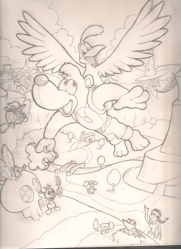Banjo Kazooie Free Colouring Pages