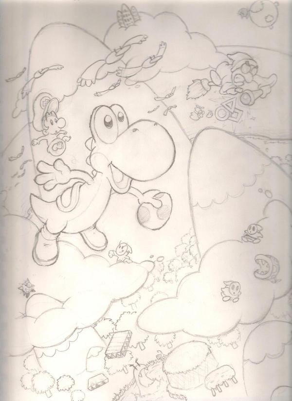 Yoshi's Island sketch by mattdog1000000