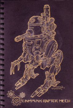 raptor type steampunk mecha...