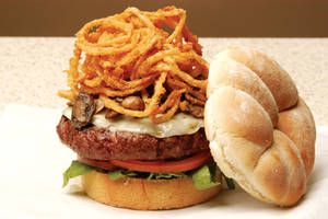 Burger with Onion Rings by Ezram