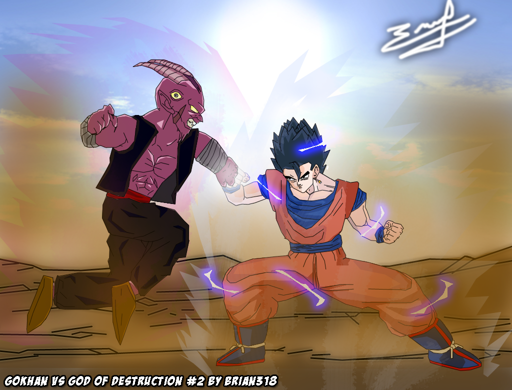 Gokhan (Goku-Gohan Fusion) VS God of Destruction 2 by ... Gohan And Vegeta Fusion
