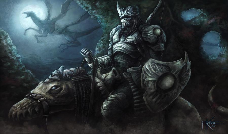 Gibbous Rider by ElkhanArt