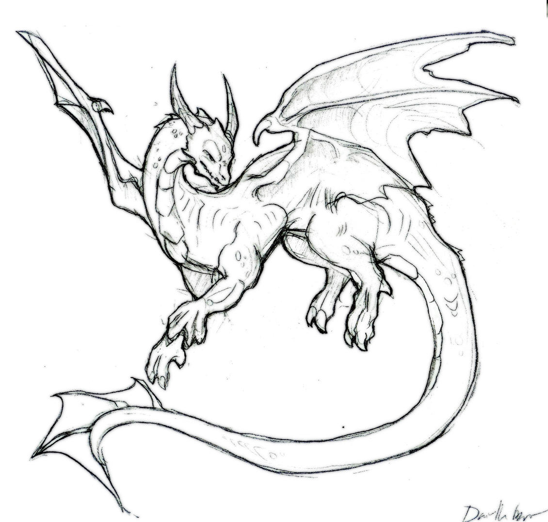 Line Drawing Dragon : Wanna be line art dragon by liquiddragonn on deviantart
