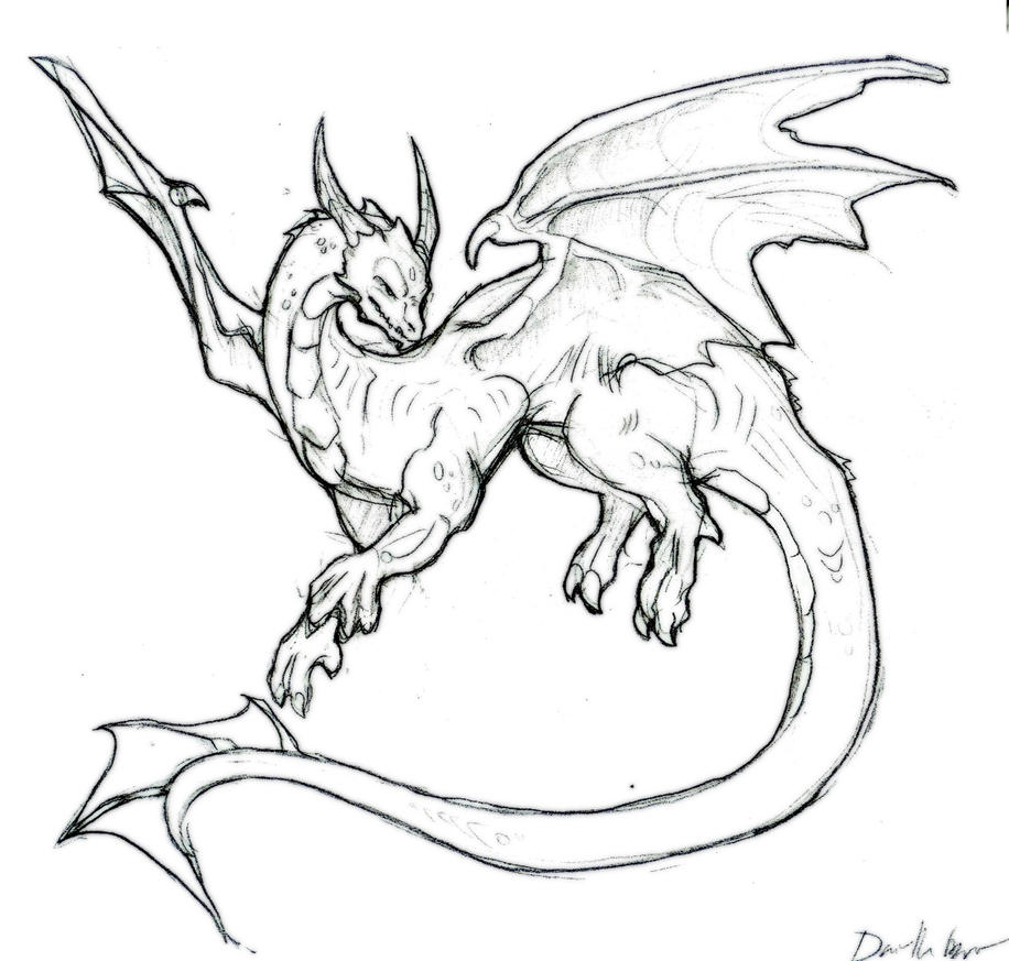 Dragon Lineart : Wanna be line art dragon by liquiddragonn on deviantart