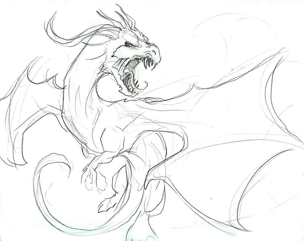 angry dragon in flight sketch by liquiddragonn on deviantart