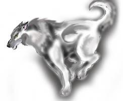 Random running wolf by LiquidDragonN