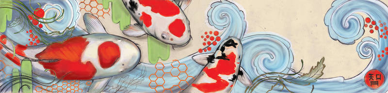 Koi Fish - Wall Design by Artjunk