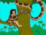 Kaa and Mowgli colored