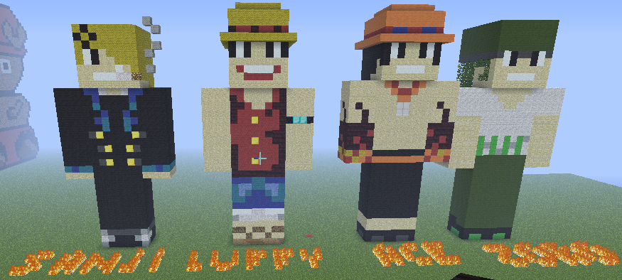 Sanji Luffy Ace And Zoro In Minecraft By Law X Kagome On Deviantart