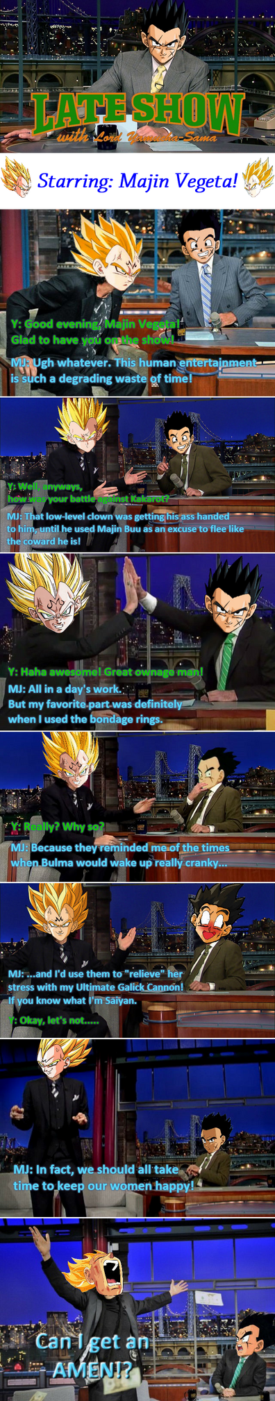 Late Show With Yamcha: Starring Majin Vegeta by UsefulYamcha