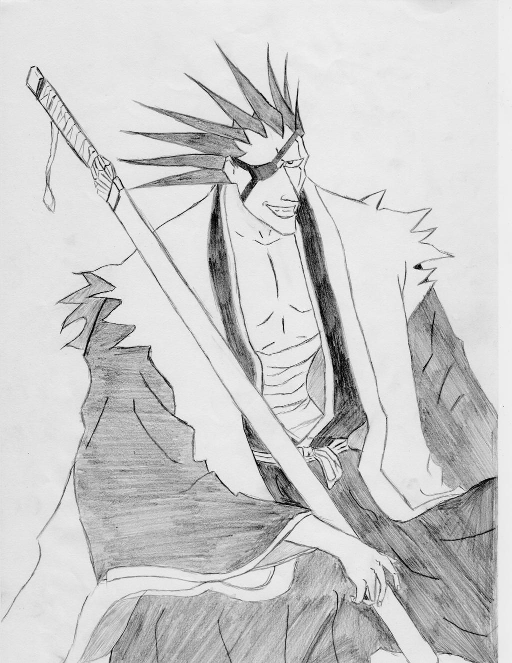 Zaraki Kenpachi Drawing Black White By Squallala1337