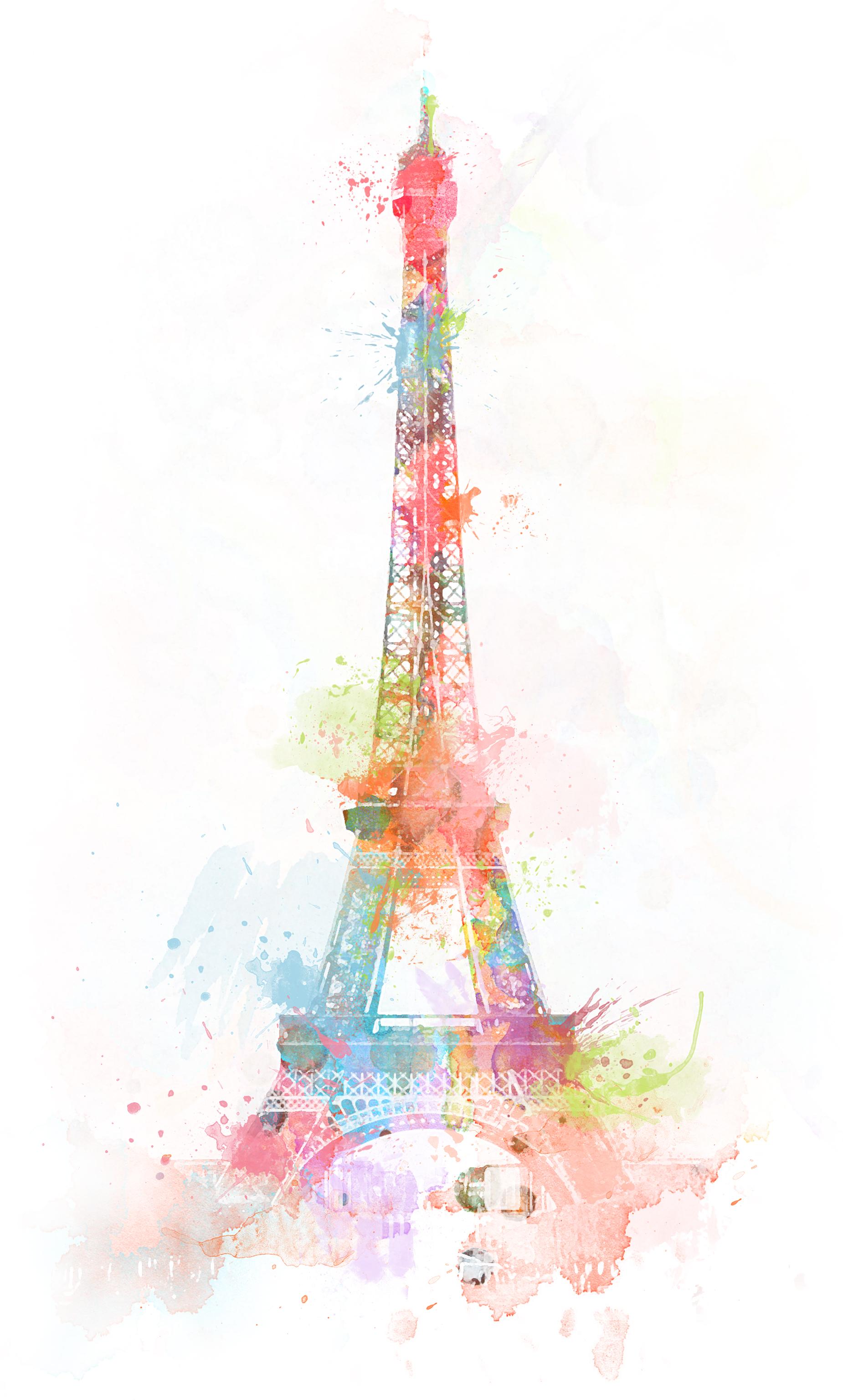 watercolor eiffel tower colorful art pinterest