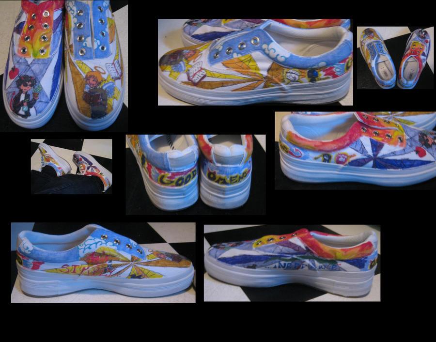 Good Omens  first custom shoes by ~Short Lived Jokes on deviantART