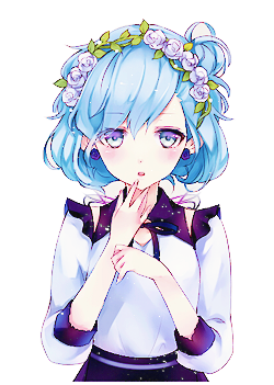Cute Anime Girl With Short Blue Hair by Kotoreh