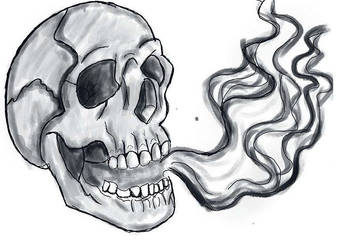 Skull and smoke by oddsockzx