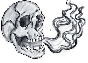 Skull and smoke