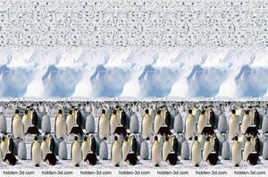 Emperor Penguins. Stereogram by 3Dimka