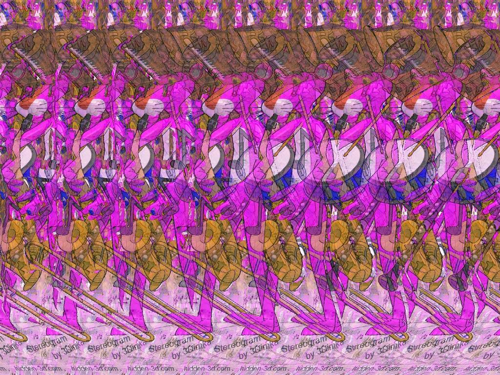 Pink Music Stereogram