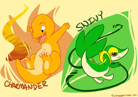 Charmander and Snivy by Chib-bee