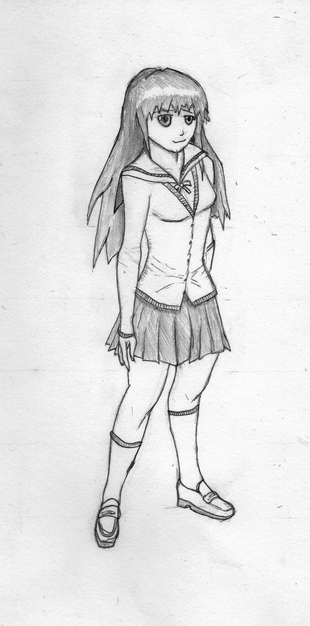 Simple anime girl sketch full body download