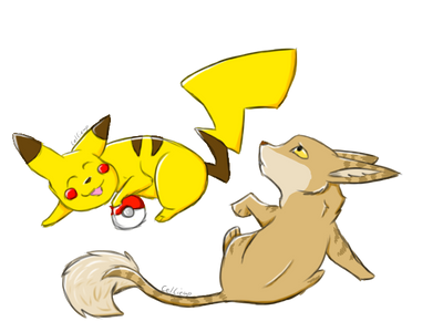 Pikachu and Nala by CelCiego