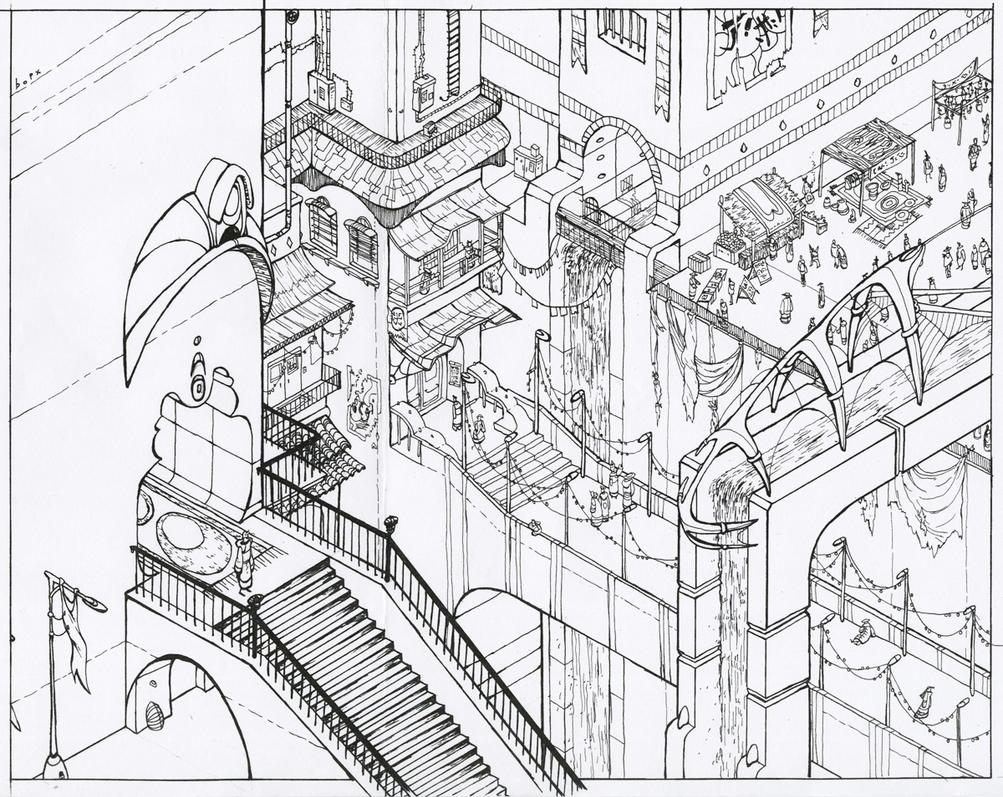 isometric city ink by bopx on deviantart