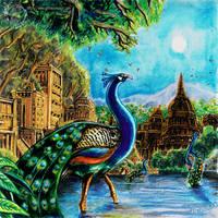 Peacocks along the stream of Serenity by MrTuke