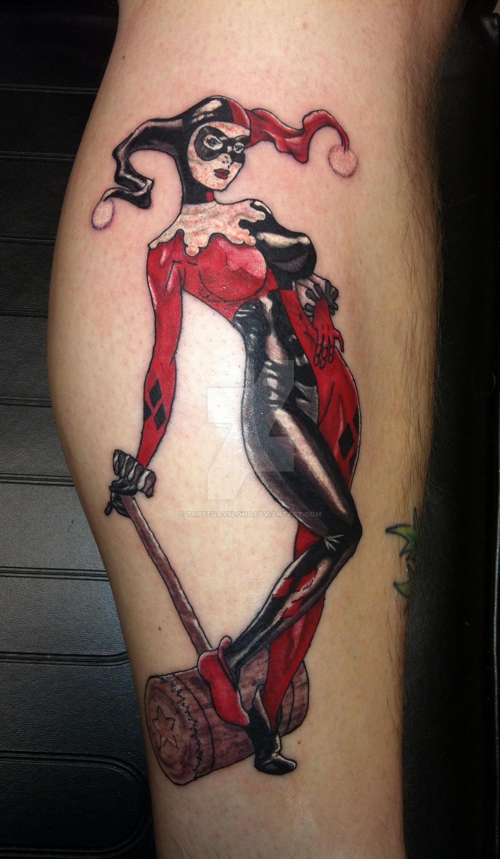 Harley quinn tattoo by threedayslong on deviantart for Harley quinn and joker tattoo