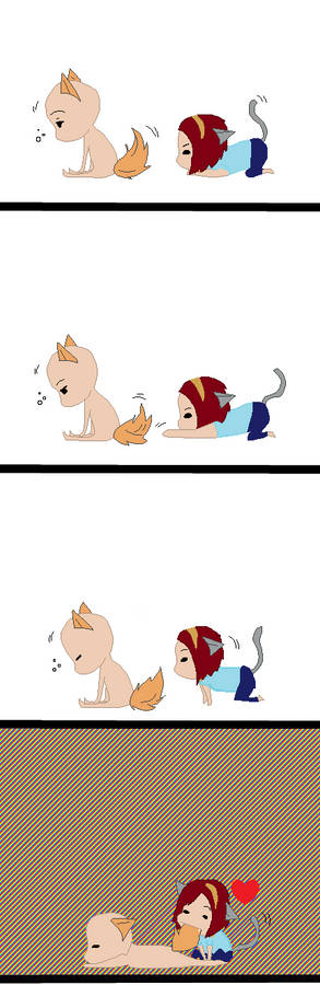 Chibi kitty and fox collab