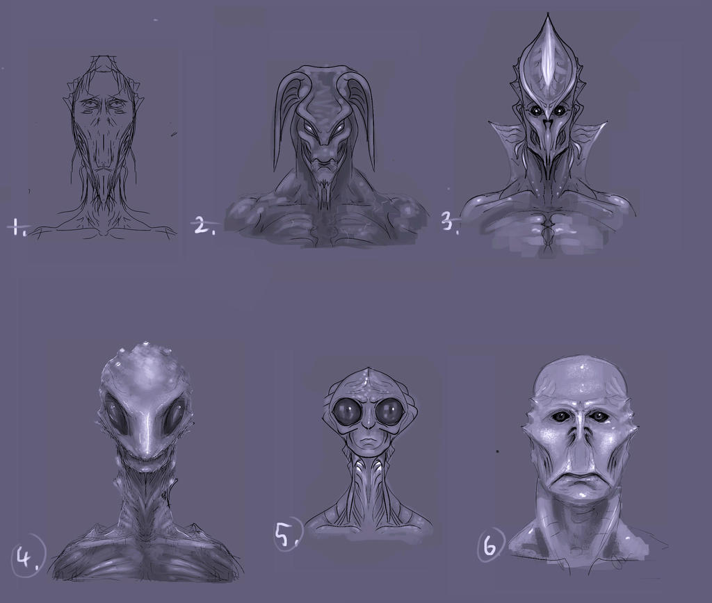 Initial Alien Concept Sketches by TLishman