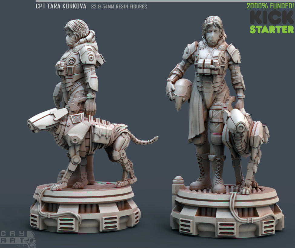 Captain TARA KURKOVA - 54mm KICKSTARTER! by CRYart-UK