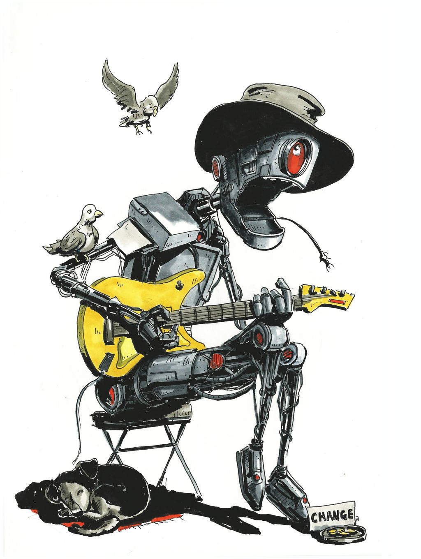 Robot bum musician by Ninorabbi