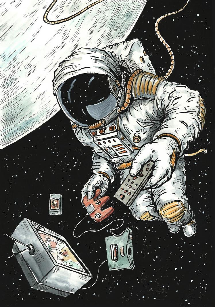 Video Gaming Astronaut by Ninorabbi