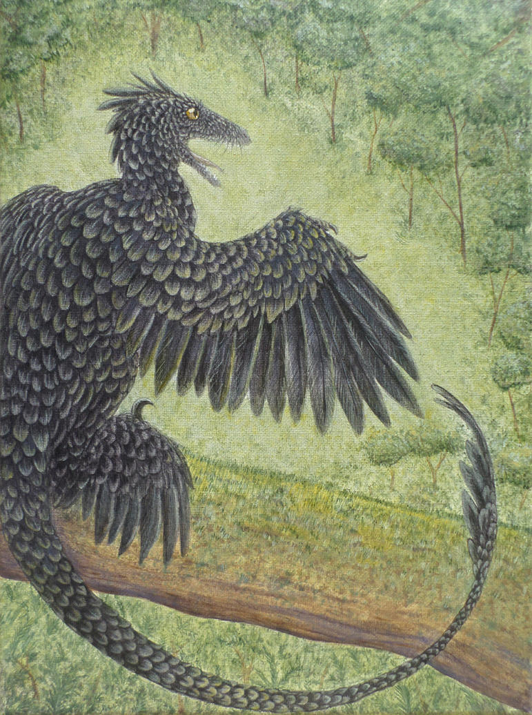 Microraptor Painting by Book-Rat