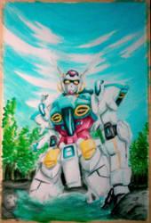 Gundam Kneeling on the River