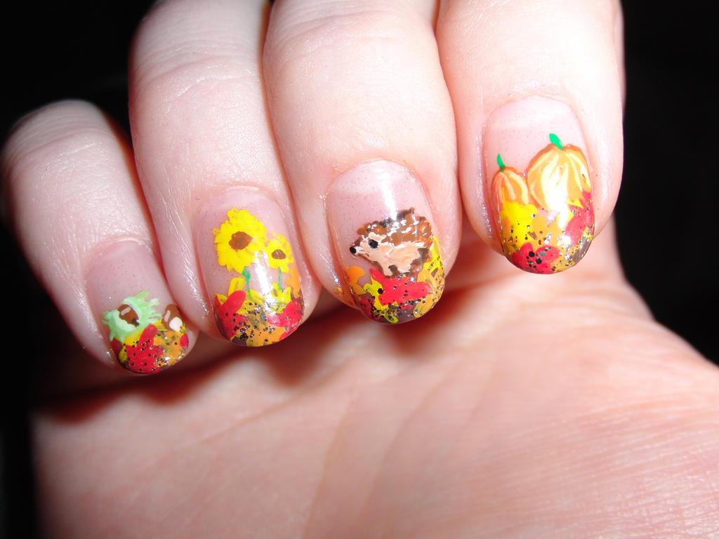 Autumn nails right hand by Lyralein on DeviantArt