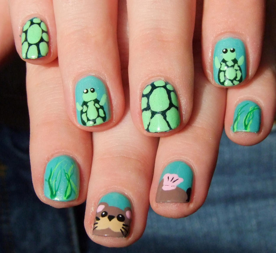 Sea otter and turtle nail art by Lyralein ... - Sea Otter And Turtle Nail Art By Lyralein On DeviantArt
