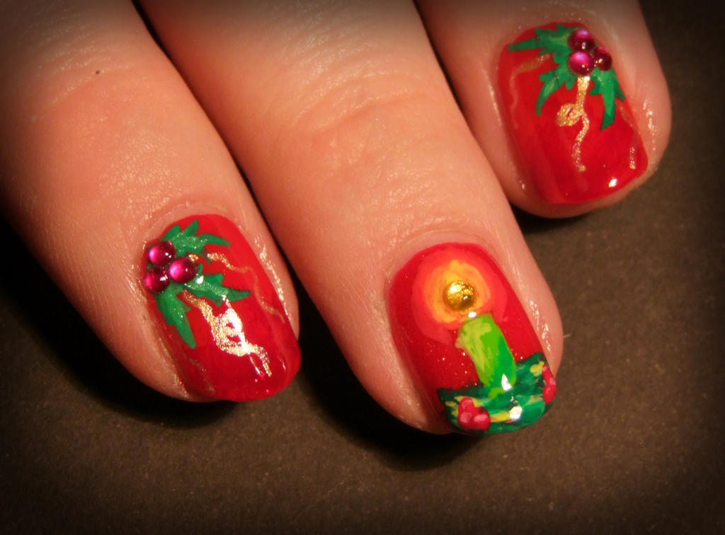 Christmas nail art by Lyralein